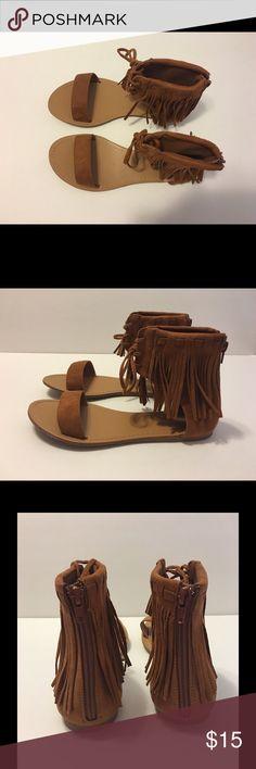 fe5ea7cfa Fringe Sandals in Brown   Tan Size