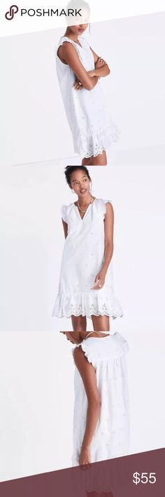 NWT Madewell White Lace Eyelet Shift dress Gorgeous white Lace eyelet Shift dress by Madewell. Size XL and true to size Madewell Dresses Mini