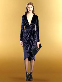 Um...yes please!! $3600 New Authentic Gucci Runway Velvet V Neck Wrap Dress Blue 303943 | eBay