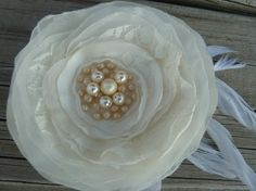 Ivory Bridal Flower Hairclip or Brooch in by BananaSueBoutique, $20.00
