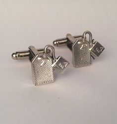 Men's Silver Metal Tea Bag Cufflinks, New Pair Tea Drinker Cuff Links  Guys Gift