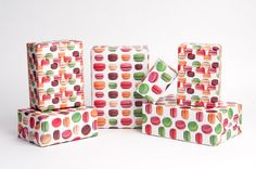 Wrap your gifts in vibrant, sweet macarons! This listing is for 12 sheets of wrap, 3 of each 4 designs. Printed on a sturdy newsprint paper,