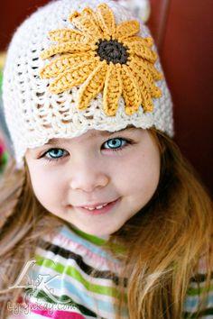 Baby Girl Sunflower Beanie Newborn  3 months 3  6 by LandyKnits, $30.00
