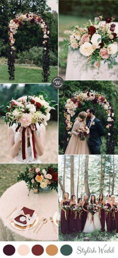 burgundy and blush fall and autumn wedding colors ideas