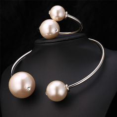 Trendy African Bracelet Necklace Set 2015 New Platinum/18K Real Gold Plated Big Pearl Toques Bracelet Jewelry Set Party