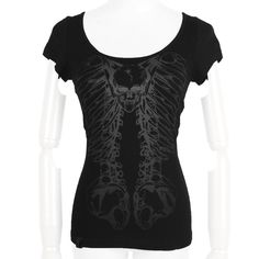 A gothic short-sleeve top by Punk Rave, from the new women's clothing collection. Black cotton with unique metal-rings back, looking like a spine, and dark skull print on front.