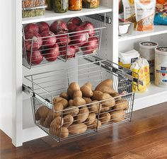 Store produce and other pantry items in easy-to-see wire shelving. Store produce and other pantry items in easy-to-see wire shelving. Kitchen Cupboard Designs, Kitchen Room Design, Diy Kitchen Storage, Modern Kitchen Design, Home Decor Kitchen, Interior Design Kitchen, Home Kitchens, Pantry Storage, Food Storage