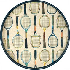 """Tennis Racket Serving Tray - Our delightful Tennis Racket Serving Tray is bound to start conversation. Measuring 18"""" in diameter with contrasting 1.5"""" high sides, this tray is ideal for displaying and carrying."""