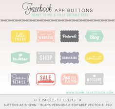 Facebook Timeline Tab Images - App buttons - social icons. $8,00, via Etsy.