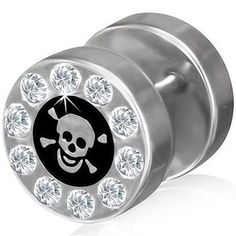 Stainless Steel 2 tone Pirate Skull Crossbones Fake Ear Plug with Clear CZ Pair