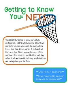 """This is a great way to keep the """"getting to know you"""" games on the first week of school from boring students. They are able to build relationships with classmates and learn about nets at the same time!"""