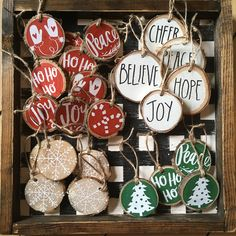 Christmas Gnome Ornaments - A Quick, Adorable Craft Diy Christmas Ornaments, Christmas Projects, Holiday Crafts, Gnome Ornaments, Wood Ornaments, Christmas Ideas, Christmas Wood Crafts, Christmas Crafts To Sell Bazaars, Rustic Christmas Decorations