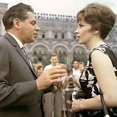 Gina Lollobrigida and Soviet actor Arkady Raikin in Red Square, Moscow IFF, 1961