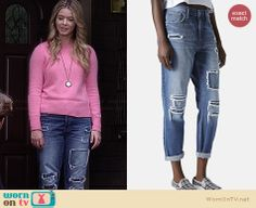 Alison's pink sweater, ripped boyfriend jeans and clock necklace on Pretty Little Liars.  Outfit Details: http://wornontv.net/33621/ #PLL