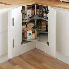Utilise all that space in your corner cupboard with our premium corner carousel that is sold by range. Kitchen Corner Cupboard, Kitchen Soffit, Kitchen Cupboard Storage, Small Kitchen Storage, Corner Storage, Kitchen Units, Kitchen Cupboards, Storage Cabinets, New Kitchen