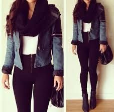 Outfit winter black leather infinite scarg