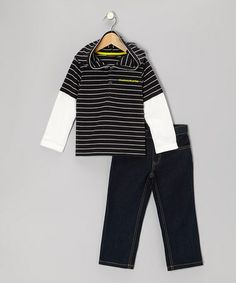 Take a look at this Navy Stripe Layered Hooded Tee & Jeans - Infant & Toddler by Calvin Klein Jeans on #zulily today!