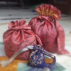 5 Recycled Silk Sari Gift Bags Repurposed Silk by MahimaCreations #giftbags #holidays #etsymntt
