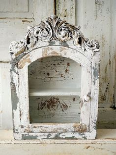 Distressed cabinet display wall hanging French by AnitaSperoDesign