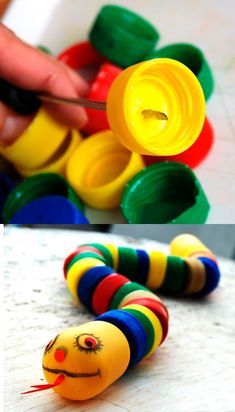 This cute little snake, made of recycled plastic bottle caps, would make a fun bird toy. Plastic Bottle Crafts, Bottle Cap Crafts, Plastic Bottles, Bottle Caps, Creative Arts And Crafts, Diy And Crafts, Creative Ideas, Diy For Kids, Crafts For Kids