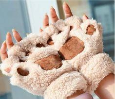 Cute Cat Paw Gloves Fingerless Kawaii Novelty Plush Mittens , UK Seller!