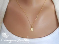 Single Tiny Leaf Charm Necklace in Gold - Little Very Small Leaf Charm - Gold Filled Fine Cable Chain - Perfect Gift - morganprather