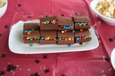Pirate party food - treasure chests made from cake rolls & skittles or mini m
