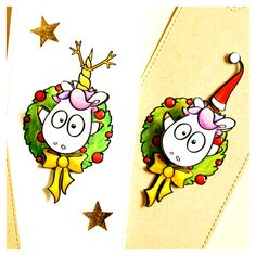 "digi stamp ""unicorn with advent wreath"" #cardmaking #christmas #digistamps #unicorn #advent #wreath #goebie #goebiedesign #actionwobble"