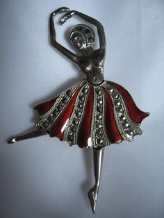 Old Sterling Silver Ballerina Dancer Pin with Enamel and Marcasite