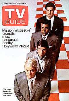 October 1969 TV Guide Mission Impossible: Peter Lupus, Greg Morris, Leonard Nimoy, Peter Graves