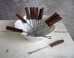 Hors D'oeuvres Forks , Appetizer Cocktail Forks ,Mid Century Modern Stainless Steel and Teak Wood Mini Forks