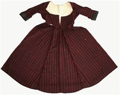 Welsh bedgown: Made of red and black (or very dark blue) striped flannel with a well tailored back and low-cut front, sometimes hooked or threaded across the bosom and open below this to expose a skirt (originally a petticoat) which was normally covered by an apron.