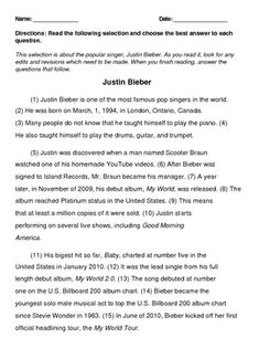 4th Grade STAAR Writing Revising and Editing Passage- Justin Bieber {free}
