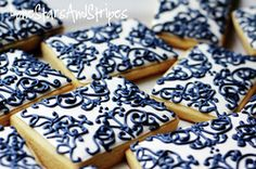 navy and white lce cookies #blue #wedding