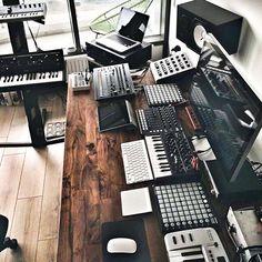 Dark Wood Desk Home Studio http://www.infamousmusician.com/home-studio-gallery/