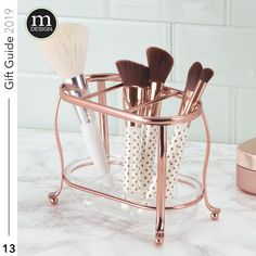 13 - 3 Section Makeup Brush Holder . Makeup is art, and what do artists need? 🤩 Brush up on your gift-giving this holiday season with the gift of our gorgeous rose gold makeup brush holder!