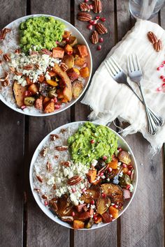 Roasted Harvest Veggie, Curried Avocado + Coconut Rice Bowls....skip the cheesd