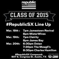 #RepublicSX Class of 2015 Showcase | Wednesday - Friday, March 18-20, 2015 | 6-9pm | #RepublicSX Compound: 907 S. Congress Ave., Austin, TX 78704 | Food, drinks, fun; DJ sets and performances by Misterwives, Jamestown Revival, The Mowgli's, and more | Free with RSVP: https://www.eventbrite.com/e/republicsx-class-of-2015-showcase-tickets-15915173713