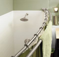 Need a little extra elbow room in the shower? Curved shower rods provide extra inches up high (where you need them) and this version from Moen has a double bar for towel storage.
