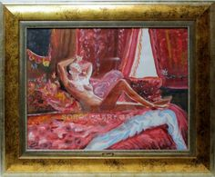 Rosell : Nude. Medium: Acrylic on paper Measurements (cm): 85x70 Canvas measurements (cm): 63x48 Interior frame: Yes.  Beautiful oil painting of a woman, with a bright color palette and great composition. $2,010.68