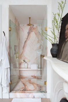 Like: book doors Abra Berens cookbook a pink marble bath ice cream . - Like: book doors Abra Berens cookbook a pink marble bath ice # Bookcase # Cook - Marble Showers, Marble Bath, Pink Marble, Carrara Marble, Bookcase Door, Dream Bathrooms, Small Bathrooms, Bathroom Interior Design, Bathroom Inspiration