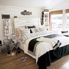 Blanc et noir chambre près de la plage