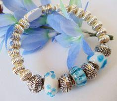 Blue Lampwork and Silver Bangle Bracelet Handmade by simplysuzie2, $25.00