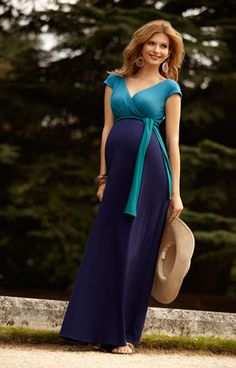 Jewel Block Maternity Maxi Dress Biscay Blue by Tiffany Rose