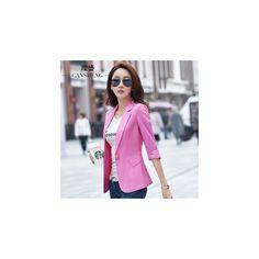 Single Botton 3/4 Sleeve Blazer (590 ZAR) ❤ liked on Polyvore featuring outerwear, jackets, blazers, women, pink blazer jacket, three quarter jacket, 3 4 length sleeve blazer, short-sleeve blazers and 3/4 sleeve jacket