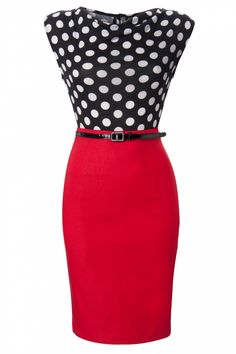 Steady Clothing - 60s Vixen Ramona Wiggle Dress red polka