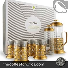 PROFESSIONAL & STYLISH COFFEE Create the proper coffee with this fantastic 6 piece coffee kit. Comprises French Press cafetiere plus milk frother and 4 X borosilicate glass cups 8 CUP CAPACITY - 1 liter / 34 fl oz - made up of heat resistant borosilicate glass with an on-trend brushed gold stainless-steel frame with elegant brushed gold detailing to the body Copper French Press, Best French Press Coffee, Stainless Steel French Press, Coffee Uses, Glass, Cups, Milk, Steel Frame, Dining Room