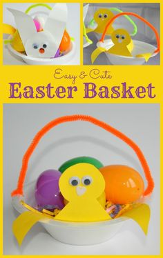 Super simple and easy Easter basket even younger kids can make. from www.blogmemom.com #easter