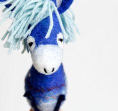 Nicolas - Felt Donkey. Art Toy. Felted donkey, Marionette, Puppet,  Felt Toys. blue, electric, night sky, stars. READY TO SHIP.