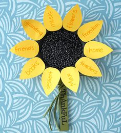 Thanksgiving craft: Paint a paper plate black, then glue black beans to the center of the dry plate. Download the petal pattern, then use it to cut out enough petals from yellow card stock to fit around the rim of the plate. Have your child think of thankful words and phrases to write onto each petal, then glue the pieces to the rim. Make the stem by painting a paint stir stick from the hardware store with green paint, and embellish it with sticker letters and raffia.